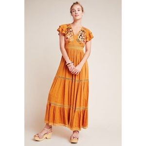 Anthropologie Maeve Embroidered Tiered Maxi Dress